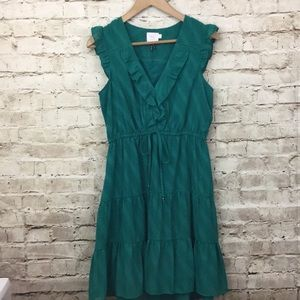 Anthropologie HD in Paris emerald dress- ruffle